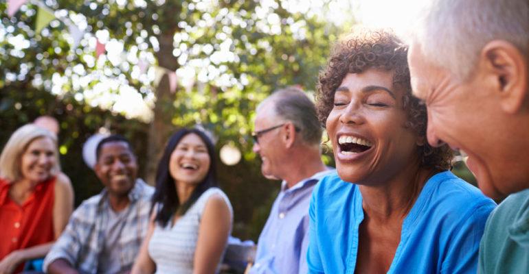 people laughing dental veneers